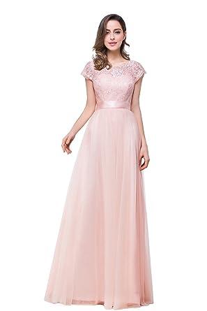 Tulle Prom dress Long Pink Gratuation dress