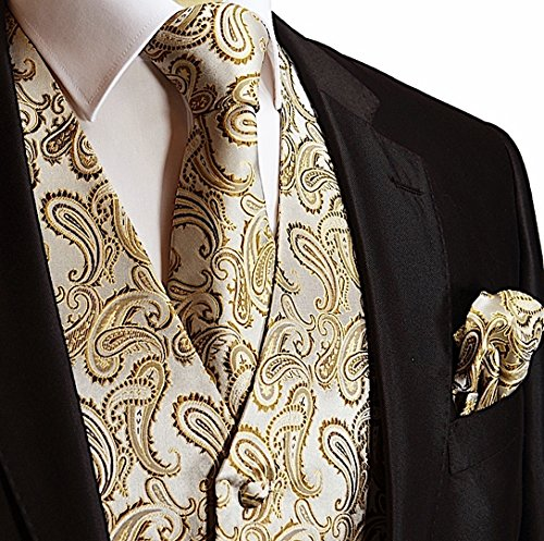 Vest Suit Set (Brand Q Men's 3pc Paisley Vest Set-Coffee-2XL)