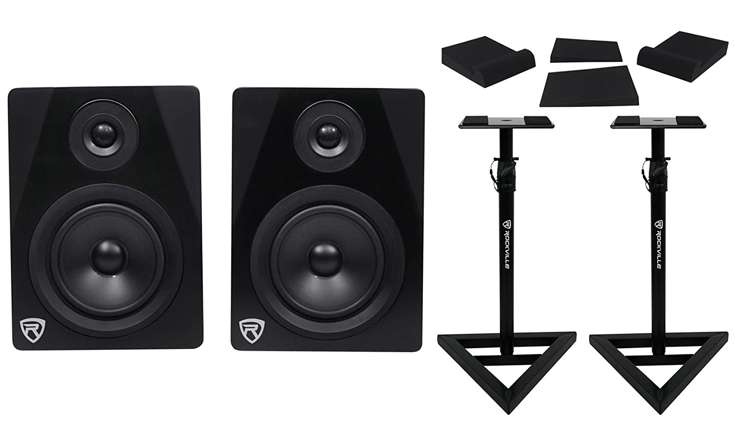 Pair Rockville APM5B 5.25' 2-Way 250W Powered USB Studio Monitors Bundle with Stands and Pads APM5B+RVSM1+RRS190S PACK
