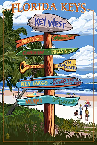 Key West, Florida - Destination Signs Art Print, Wall Decor Travel Poster