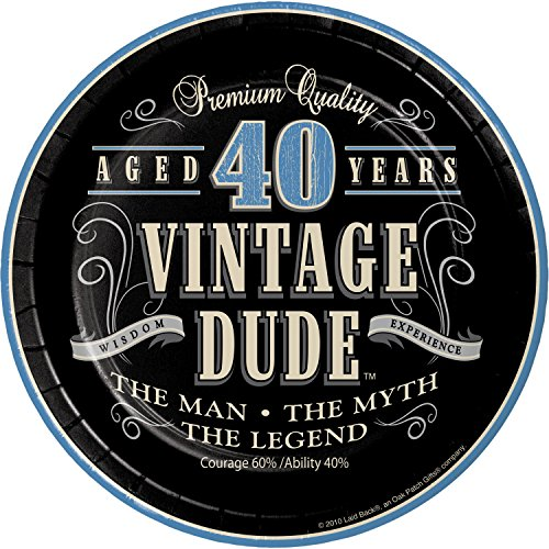 Vintage Dude 40th Birthday Dessert Plates, 24 ct -