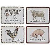 Creative Co-Op Farm Life Trinket Plates, Set of 4