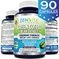 Pure Green Coffee Bean Extract 800 mg With GCA® [ 90 Capsules ] - GCA® = Green Coffee Antioxidant, Standardized 50% Chlorogenic Acid, 45 Days Supply, Maximum Strength Natural Weight Loss Supplement, Appetite Suppressant, Carb Blocker, and Fat Burner. 100%