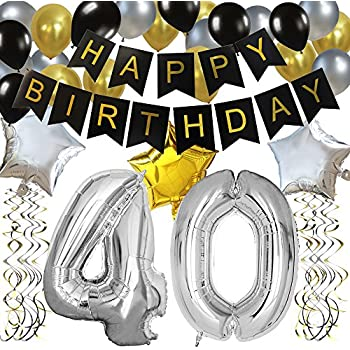 KUNGYO Classy 40TH Birthday Party Decorations Kit Black Happy Brithday BannerSilver 40 Mylar Foil Balloon Star Latex BalloonHanging Swirls