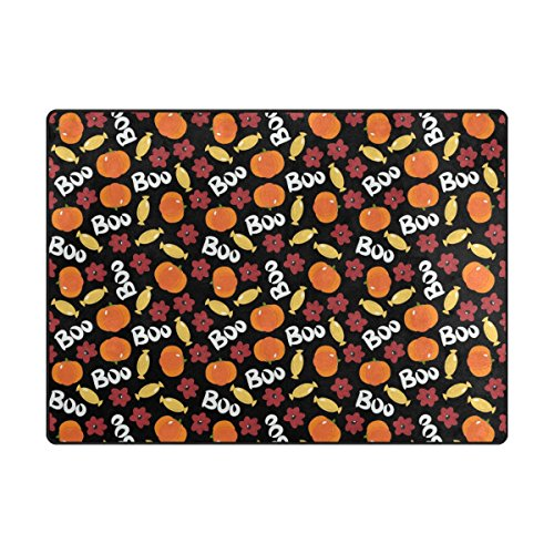 My Little Nest Halloween Boo Pumpkin Candies Floral Area Rug For Kids Bedroom Dining Living Room Entry Way 4'10