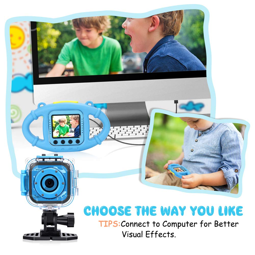 VanTop Junior K3 Kids Camera, 1080P Supported Waterproof Video Camera w/ 16Gb Memory Card, Extra Kid-Proof Silicon Case by VanTop (Image #6)