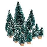 Mini Snow Globe Christmas Trees Tabletop Fake Bottle Brush Pine Trees Decor Craft Christmas Village Flocked Trees Party Decoration DIY Accessories Up to 4-7/8'' Bluish Green16PCS