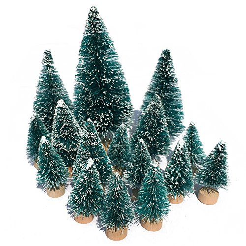 Mini Snow Globe Christmas Trees Tabletop Fake Bottle Brush Pine Trees Decor Craft Christmas Village Flocked Trees Party Decoration DIY Accessories Up to 4-7/8'' Bluish Green16PCS - Mini Sisal Trees