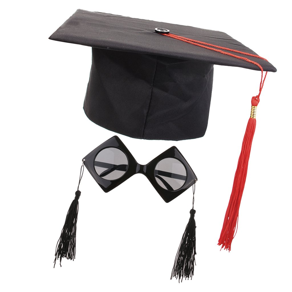 MagiDeal Women's Men's Mortarboard Hat Sunglasses Trencher Master College Graduation Fancy Dress Costume Accessory