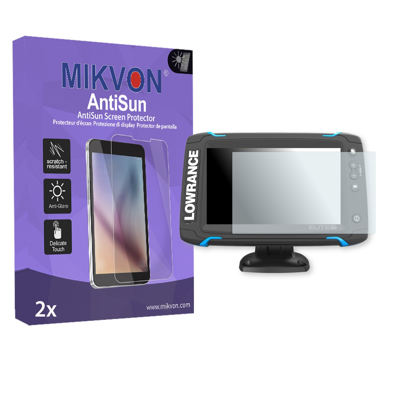 MIKVON 2X AntiSun Screen Protector for Lowrance Elite-7 - Retail Package with Accessories