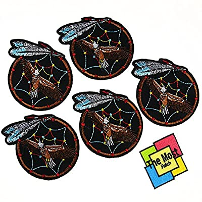 Lot of 6 (5+1) Hawk Flying On Fetish Redskin Lucky Indian Sign Embroidered Iron / Sew On Patch