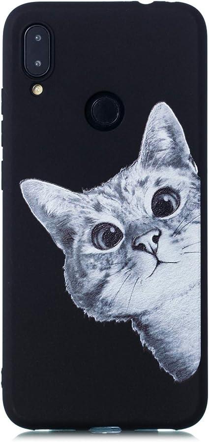 Imagen deHopMore Negro Funda para Xiaomi Redmi Note 7 Silicona Antigolpes Dibujos Espacio Universo Creativo Gracioso TPU Carcasa Resistente Ultrafina Cover Protección - Gato A