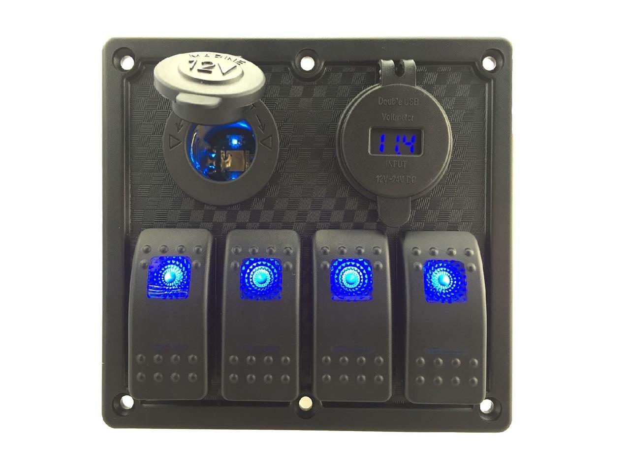 IZTOSS 12V-24V DC 4 gang Waterproof marine blue led switch panel with led power socket and 4.2A USB voltmeter