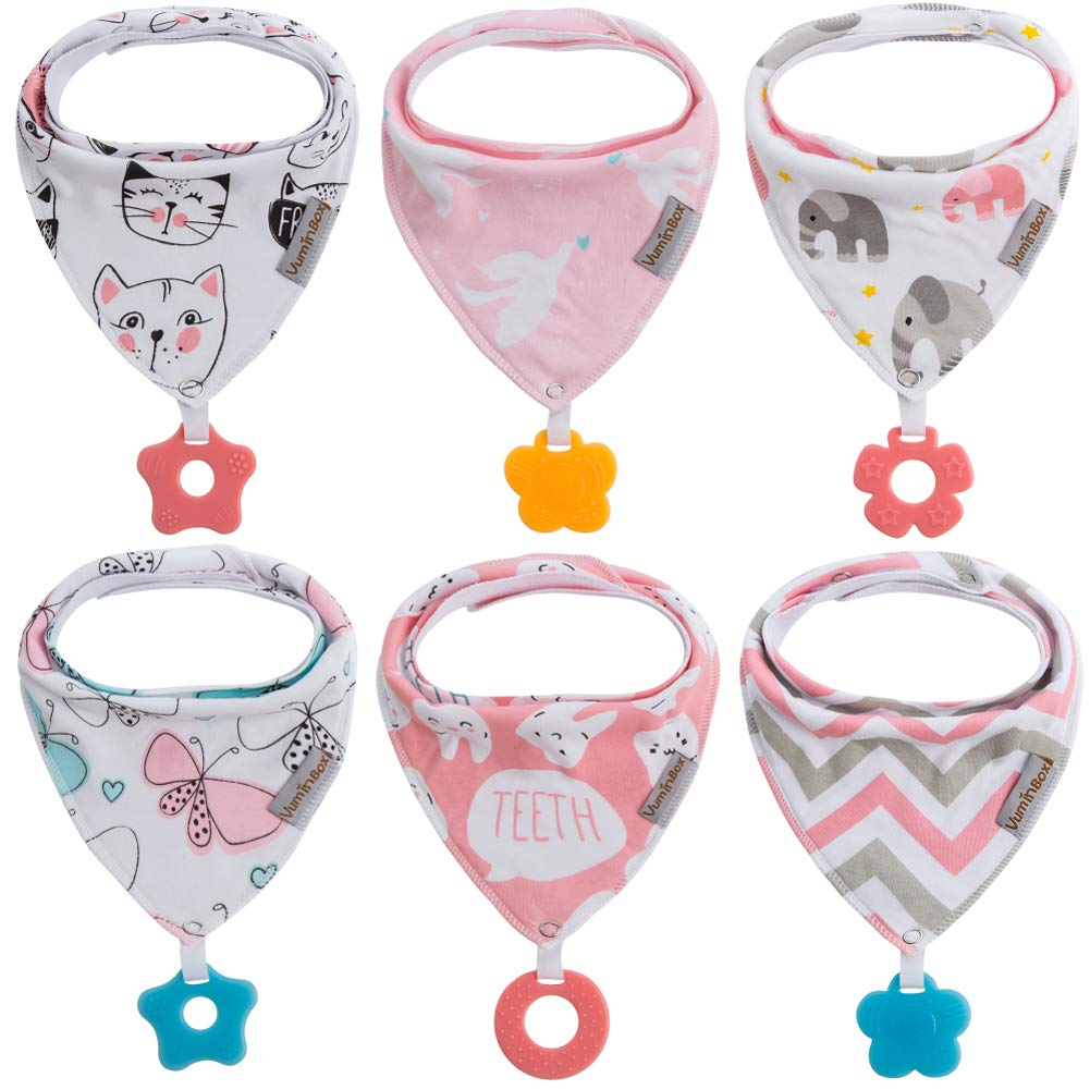 Baby Bandana Drool Bibs 6-Pack and Teething Toys 6-Pack Made with 100% Organic Cotton, Super Absorbent and Soft Unisex (Vuminbox) (6 - Pack Girl)