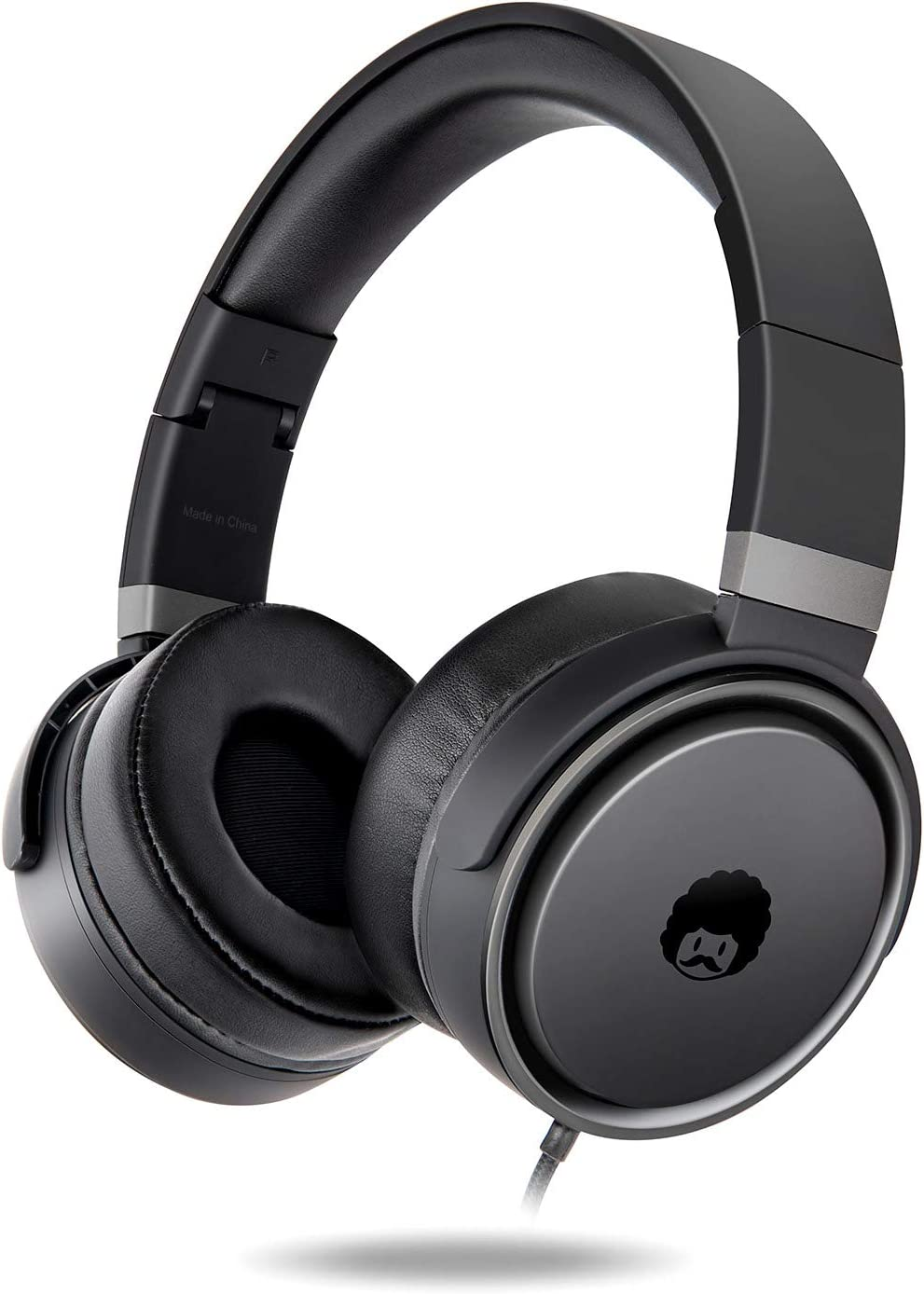 ROCKPAPA Circle ONE Wired Headphones with Microphone and Volume Control Foldable Lightweight Headset for Cellphones Tablets Smartphones Laptop Computer PC Mp3/4 CD DVD Black/Grey