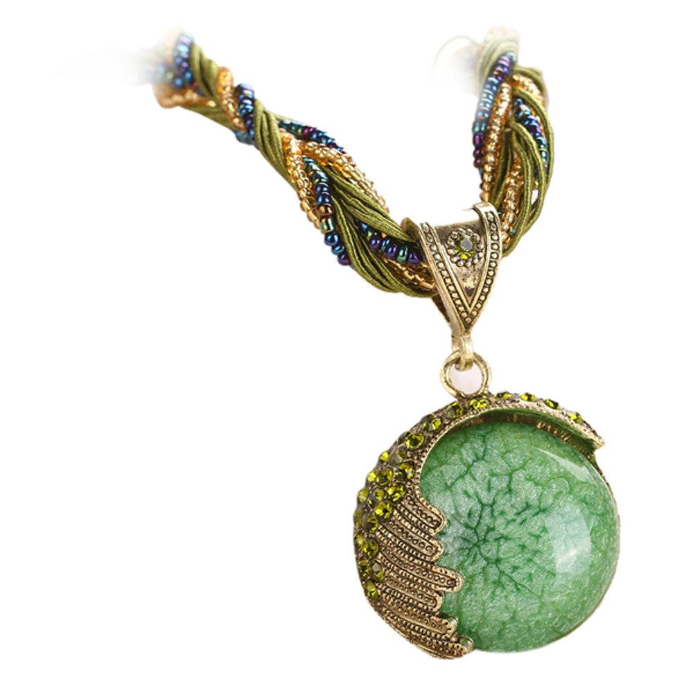 Retro Bohemian Turquoise Stone Pendant Collar Statement Chunky Necklaces for Women Beach (Green)