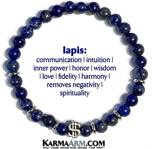 KarmaArm Manifest Wealth : Lapis Money Bracelets 8 Beaded Meditation Stretch Reiki Healing Energy Boho Chakra Wrap Yoga Mantra Jewelry /& Gemstone Zen Gifts Dollar Sign Bead