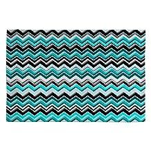 DENY Designs Madart Inc. Turquoise Black White Chevron Woven Rug, 2 by 3-Feet