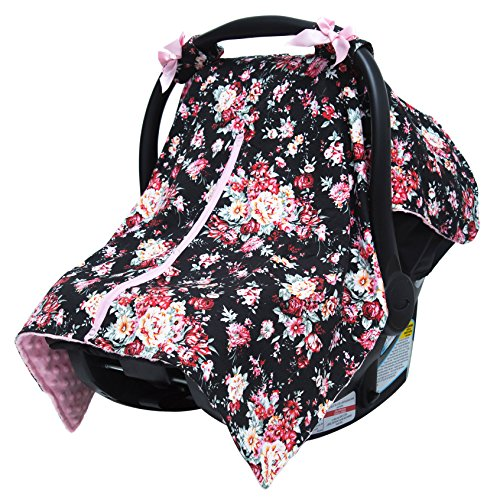 JLIKA Baby Car Seat Canopy Cover - Infant Canopy Cover for newborns infants babies girls boys best shower gift for carseats (Black Pink Floral) (Floral Car Seat Toddler Cover)