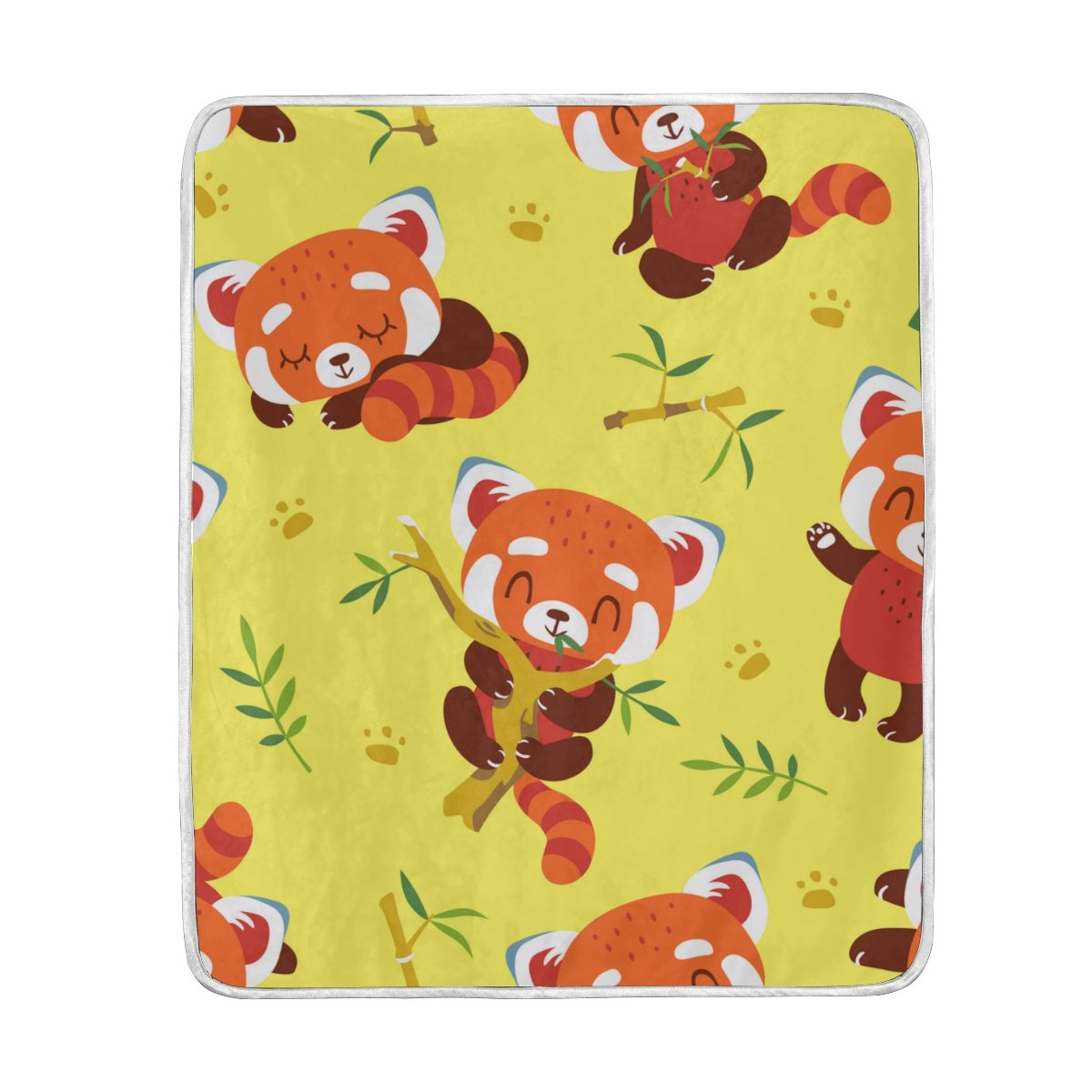 My Little Nest Warm Throw Blanket Cartoon Red Panda Yellow Lightweight Microfiber Soft Blanket Everyday Use for Bed Couch Sofa 50'' x 60'' by My Little Nest
