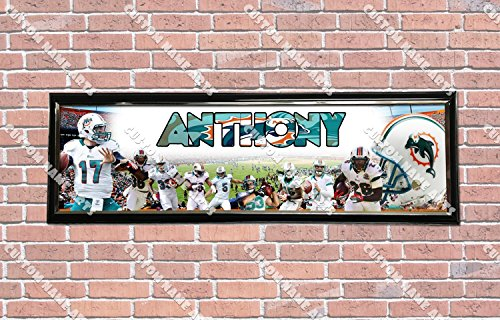 Personalized Customized Miami Dolphins Poster With Frame, With Your Name On It, Party Door