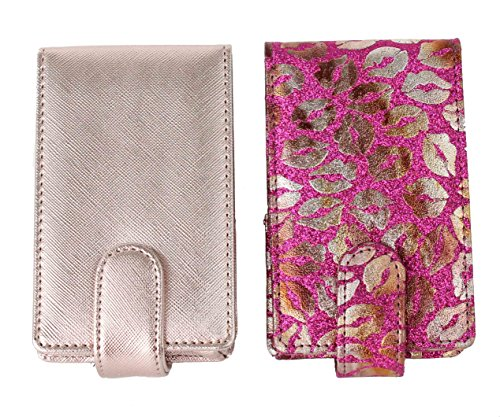 2 Pack Lipstick Lip Gloss Pouch and Carrying Case, each one holds 4 regular sized tubes of lipstick or LipSense (Magenta Glitter with Gold Lips & Rose Gold)