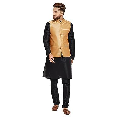 Sojanya Since 1958 Men S Black And Gold Silk Blend Kurta Pyjama