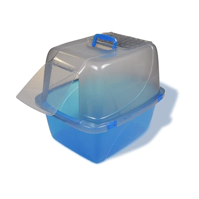 Kennelpak Limited - Van Ness caja de arena cerrada translúcida para gatos (Grande/Azul