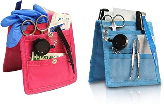 Pack 2 salvabolsillos enfermera para bata o pijama, Rosa y azul, Keens, Elite Bags