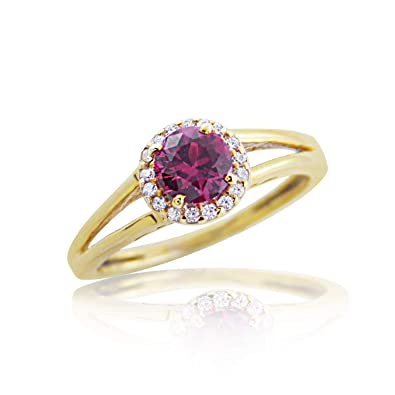 16d064cf77 Image Unavailable. Image not available for. Color: DiscountHouse4you 0.56  ct Simulated Ruby Halo Engagement Ring Split Shank Ring Wedding ...