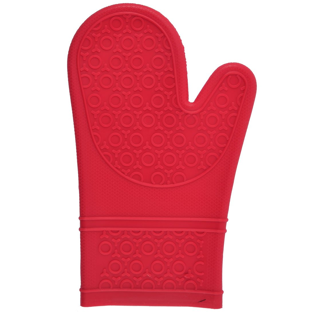 uxcell Silicone Kitchen Grilling Heat Insulated 5-Finger Oven Mitt Glove Red