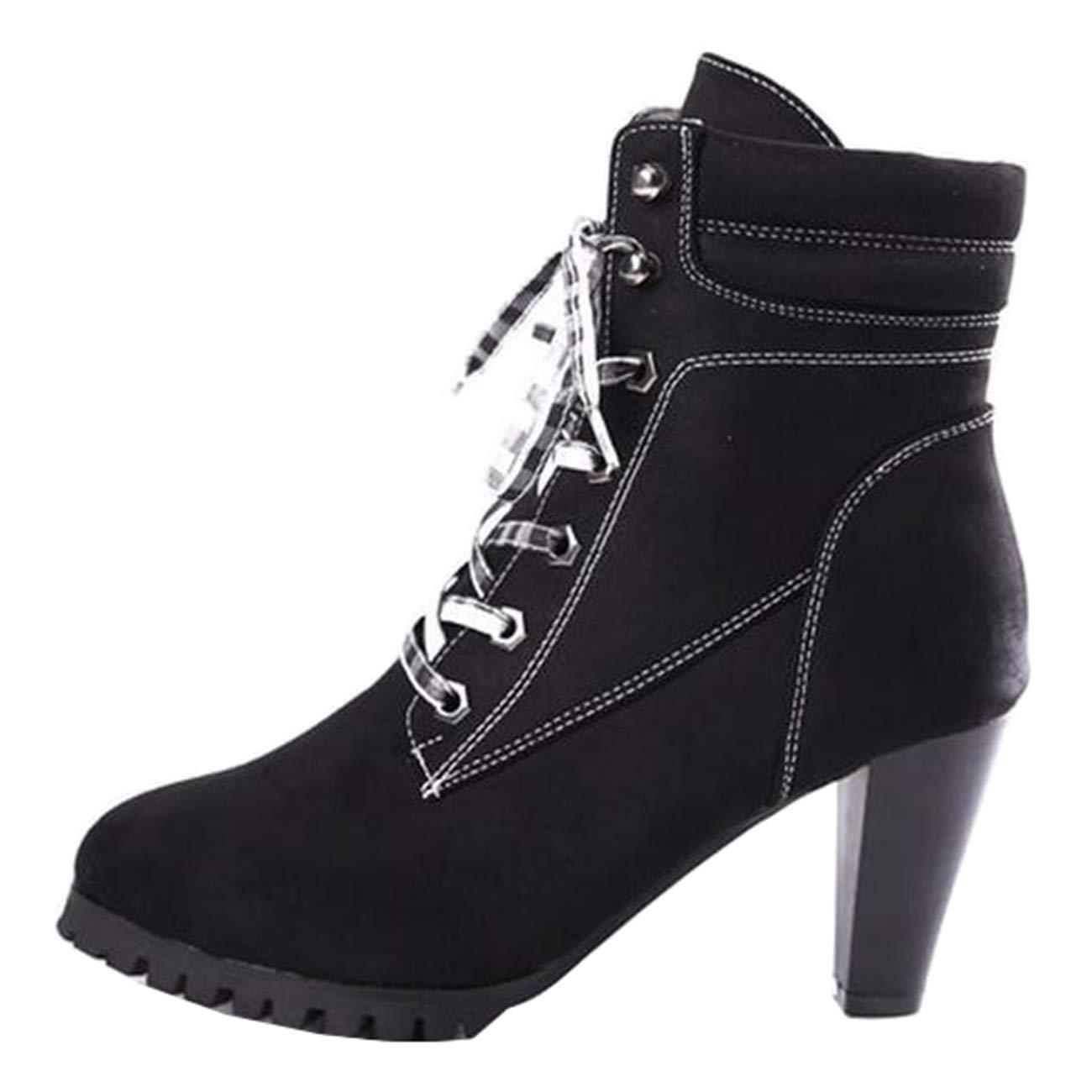 Eeayyygch Damen Runde-Toe-Plattform Kegel-Ferse Schnürstiefeletten (Farbe   Schwarz, Größe   5 UK)