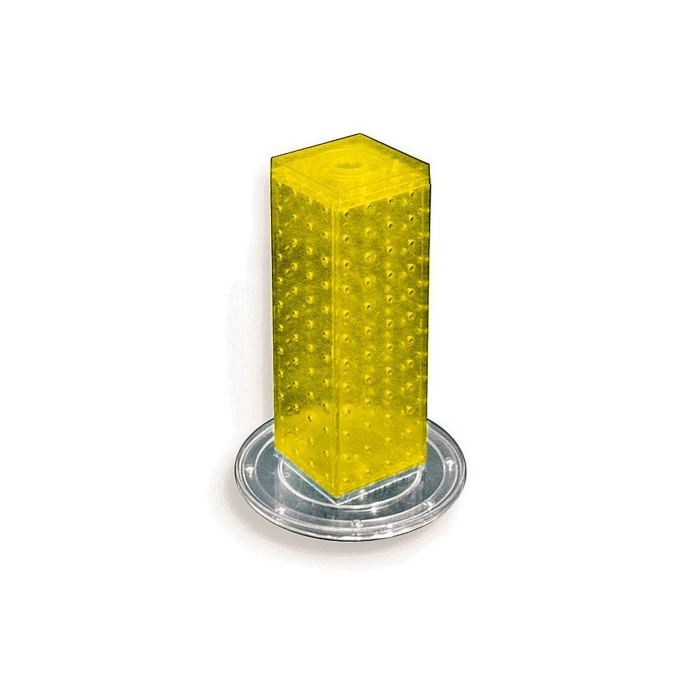 Yellow Translucent Color Azar 700220-YEL Pegboard 4-Sided Revolving Counter Display