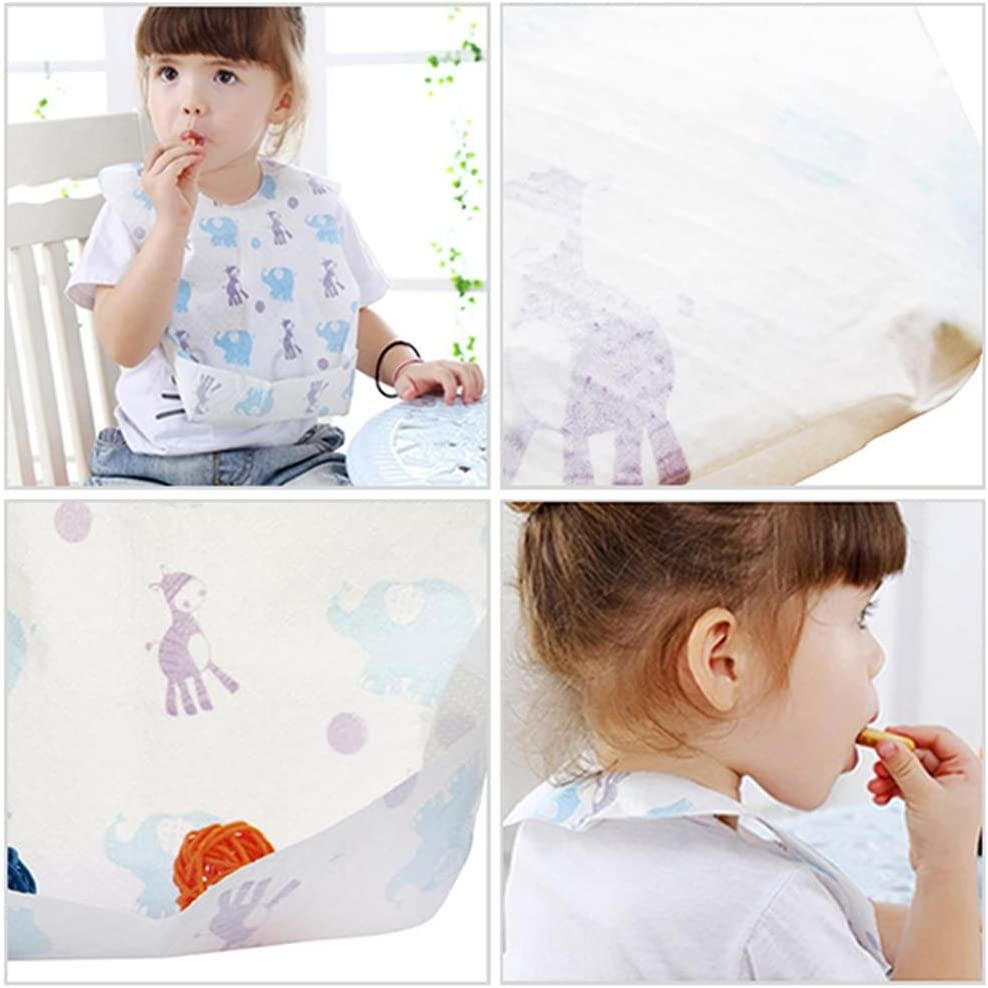 Disposable Baby Bibs Waterproof Non-Woven Fabric Eating Saliva Paper Bibs Protection for Babies and Toddlers Dinner Dining Paper Bib Towel 20 Pieces