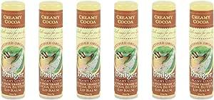 Badger Cocoa Butter Lip Balm Stick - 6-Pack - Creamy Cocoa