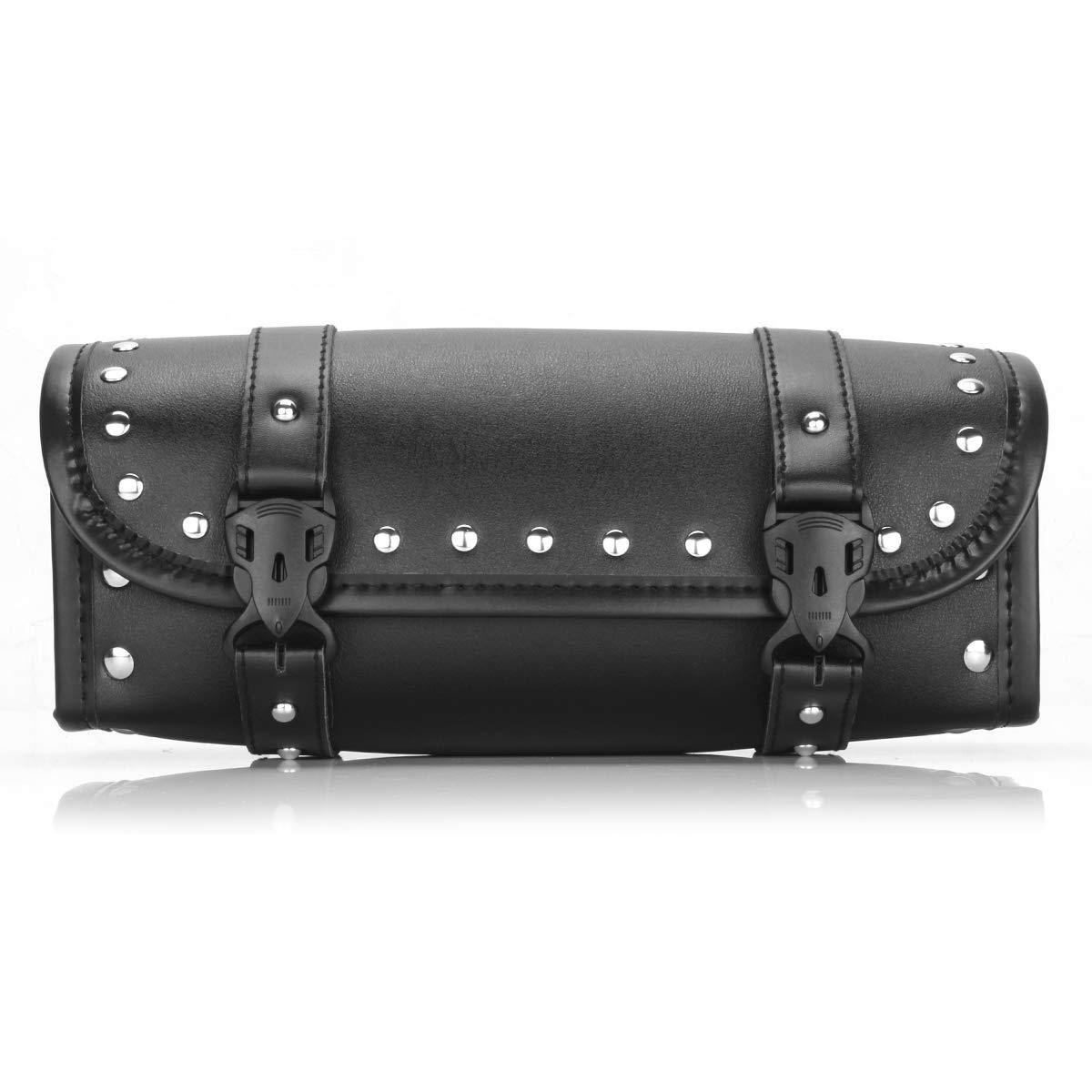 Motorcycle Tool Bag Saddlebags PU Leather Handlebar Bag Storage Tool Pouch Universal