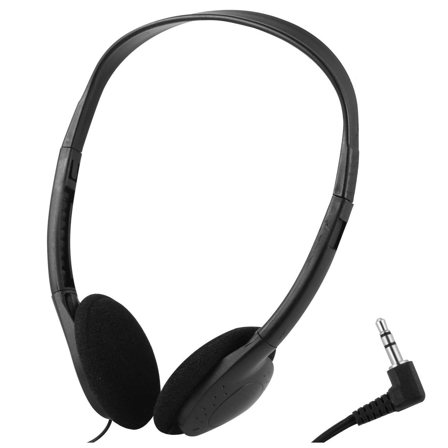 Wholesale Over The Head Low Cost Headphones in Bulk for Classroom, Airplane, Hospiital, Students,Kids and Adults -25Pack Individually Bagged Black