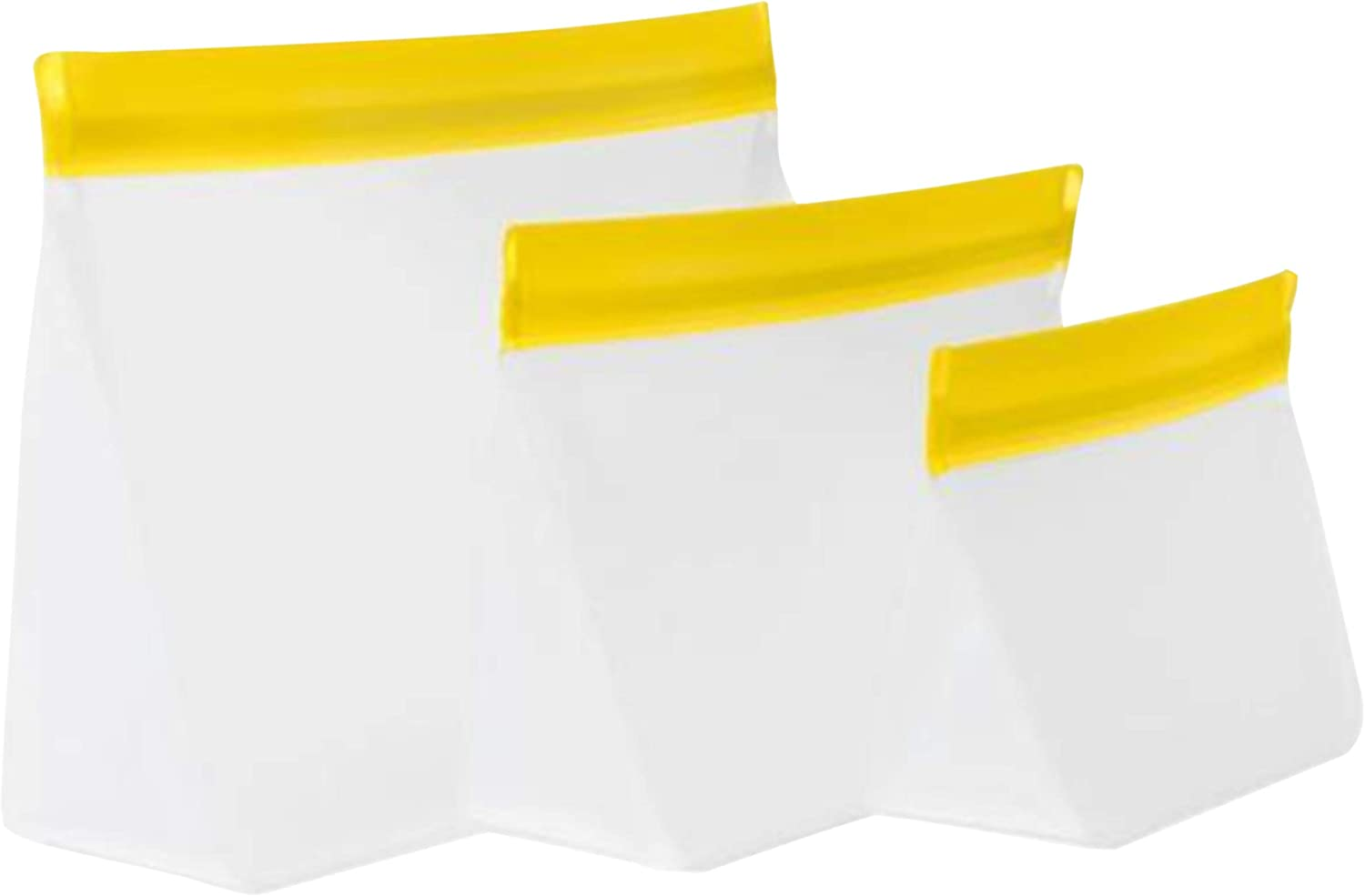 mumi Reusable Zip Up Bags | Food Storage Bags, Travel Organizer | Airtight and Leak-proof Seal | Expandable Base | Set of 3 Reusable Bags (10 x 7, 8 x 5, 6 x 4 inches) (Yellow)