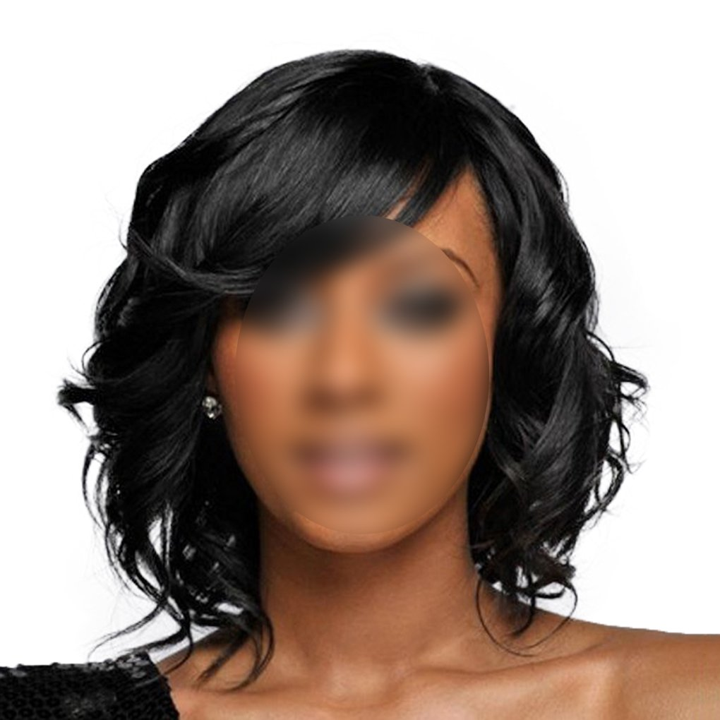M-Egal Curly Medium Long Wavy Wig with Bangs for Women and Girls as Real Hair