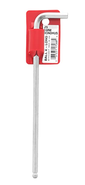 Bondhus 17076 Tagged and Barcoded 10mm Ball End Tip Hex Key L-Wrench with BriteGuard Finish 213mm