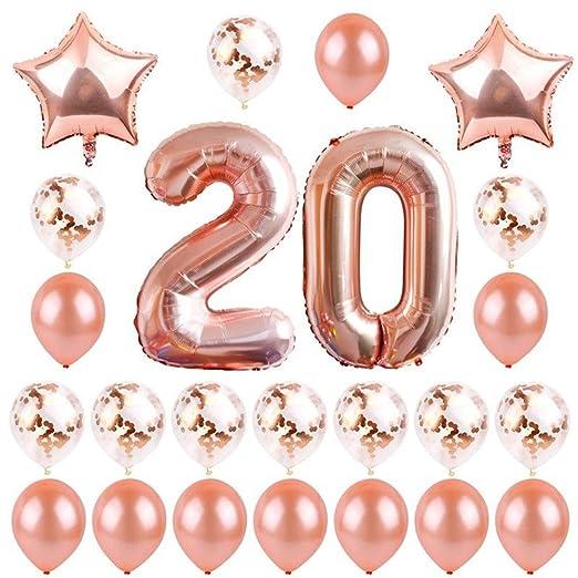Amosfun - Lote de 24 globos de látex para 20 cumpleaños de ...