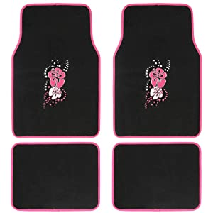 BDK 4-Piece Design Carpet Floor Mat Set - (Hawaiian Flower Pink) (Licensed Products, Secure Backing)