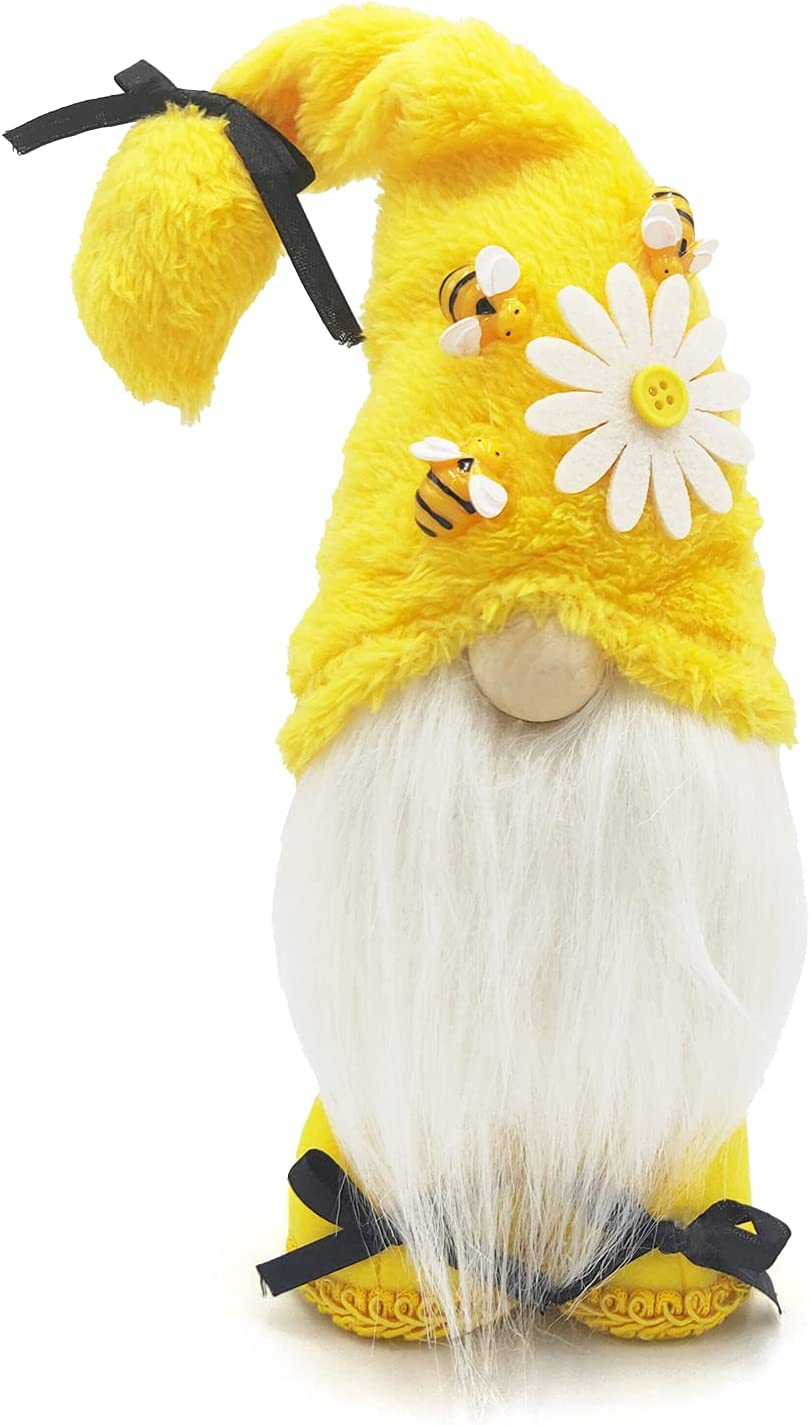 CAVLA Bumble Bee Gnomes Plush Elf Decorations Yellow Handmade Honey Bee Gnome Scandinavian Tomte Swedish Nisse for Spring Summer Home Table Ornament
