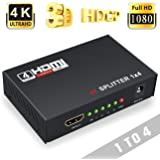 Crown Deals Crown 1 x 4 HDMI Splitter, Input and Output for Full HD 1080P Support,(Black)(Network Interface Card)