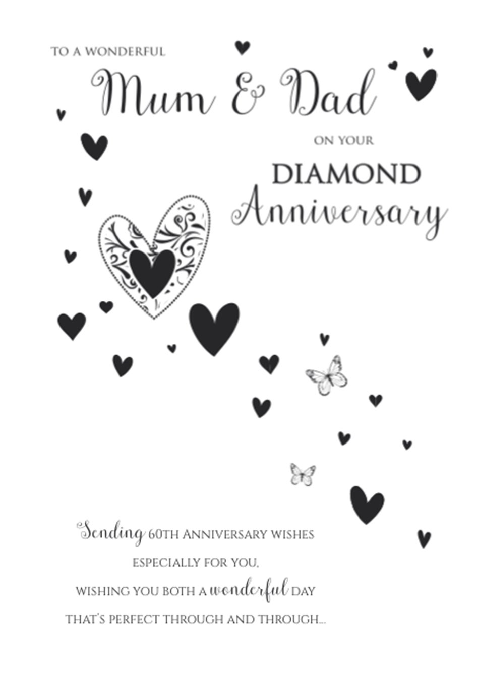 ICG Mum & Dad Diamond 60th Wedding Anniversary Card - Big Text & Hearts 9