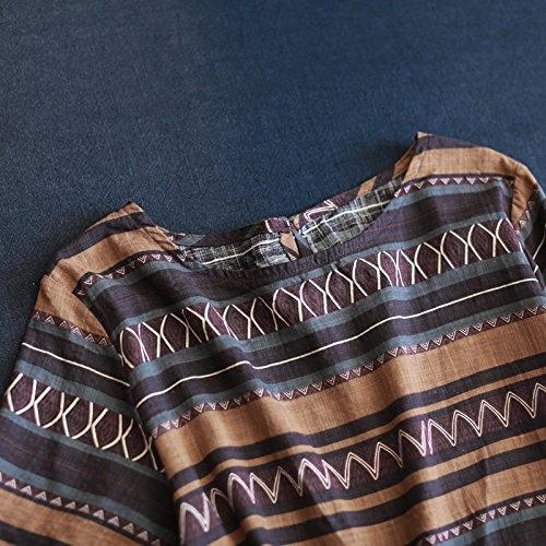 gedruckte streifen gerade rock freizeit in den langen hals kleid