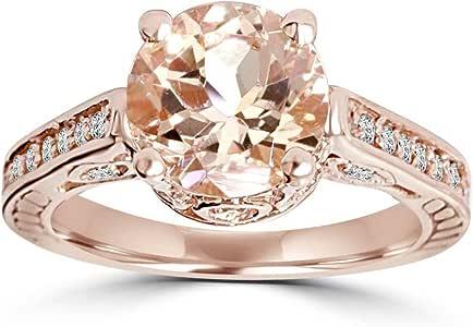 2 Carat Morganite & Diamond Vintage Engagement Ring 14K