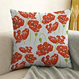 Anemone Flower Silky Pillowcase Doodle Style Poppy Anemone Field in Full Blossom May Flowers Super Soft and Luxurious Pillowcase W24 x L24 Inch Scarlet Lime Green Black