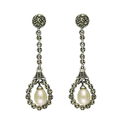 Esse Marcasite Sterling Silver Freshwater Pearl and Marcasite Drop Earrings qVAhgwG2