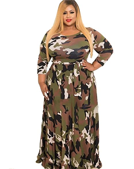 WANEE Women\'s Plus Size Printed Camouflage Long Sleeve Maxi Dress